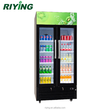 488 Liters 2 Glass Door Commercial Display Showcase Fridge Refrigerator for Drinks