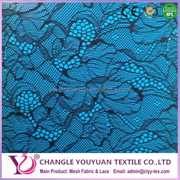 Raschel knitted jacquard lace designs fabrics polyester mesh fabric
