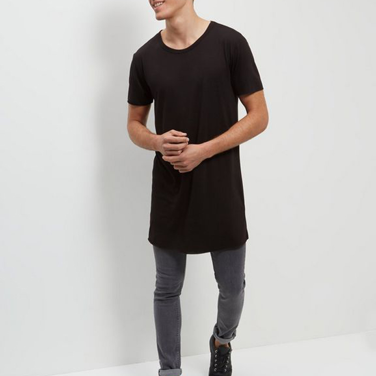 Online Shipping India Cheap Men Clothing Black Extreme Longline Men T shirt