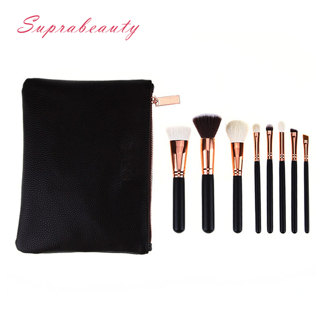 High end 8 pieces goat hair Black handle rose gold professional custom logo makeup brush set with bag