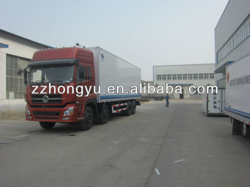 Cheapest DongFeng 7-10tons freezer vehicles/chiller van truck for beer and beverages