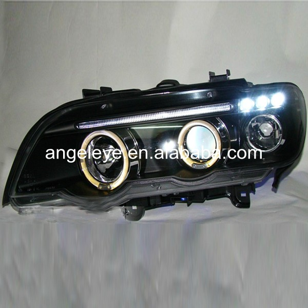LED Head Lights For BMW X5 E53 Front Lamp LED Angel Eyes 1998-2003 year black housing JY