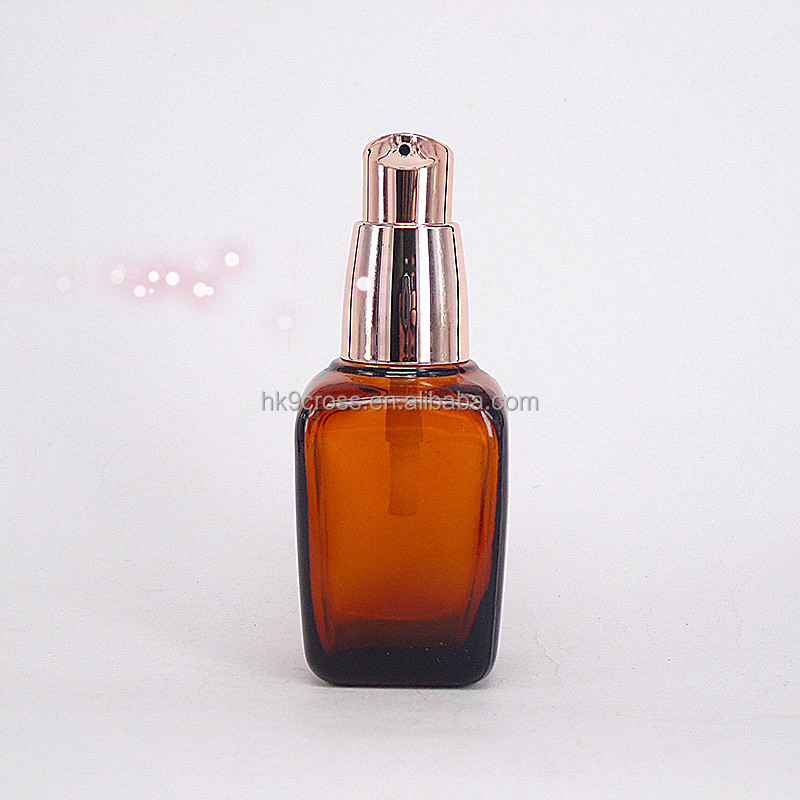 30ml amber square glass argan oil cosmetic bottle with nozzle