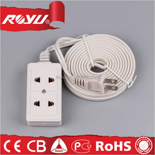 flat electrical power extension cord, white color ul approved travel extension cord