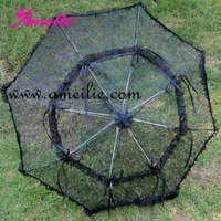 Black Ribbons Matched Lace Umbrella Parasol All Saints' Day Umbrella