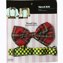 HH-0581 wholesale funny nerd kit bavarian suspenders and bow tie
