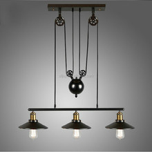 E27 Edison Bulb lamp Loft Vintage Industrial Retro Iron Pulley pendant light Loft Vintage Retro Wrought Iron Black pendant lamps