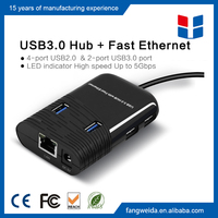 USB 3.0 to 10/100Mbps Ethernet Lan Card RJ45 External Network Adapter with 6 port USB Hub