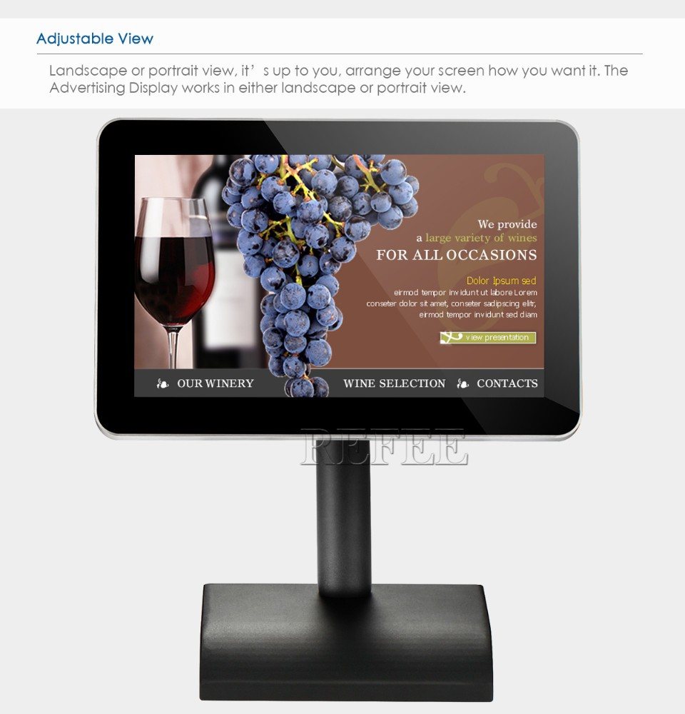 10 inch battery powered touch screen andriod media player