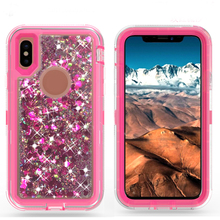 New style robot protective case and colorful transparent liquid sand for iphone case 6 6P/7/7P/8/X
