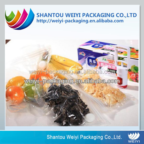 Self-standing vacuum pouches for dry food packaging