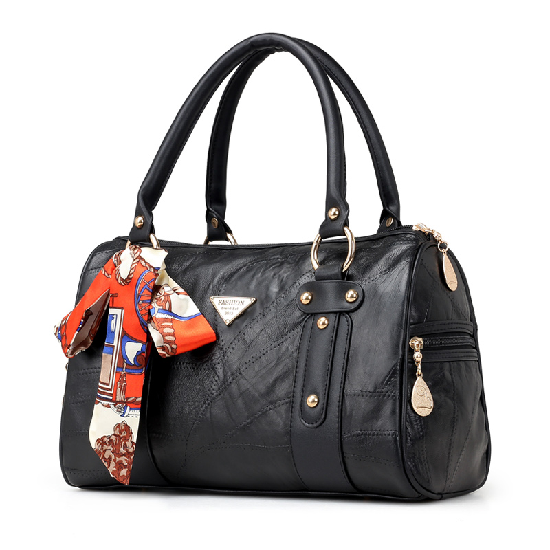 Baoding Manufacturing Custom Hardware Quality Joint Together Black Kidskin Leather PU Lady Boston Hand Bag With Free Scarf