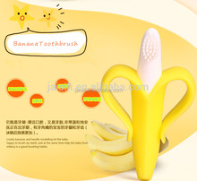 New design 2015 Professional OEM factory banana silicone baby teether with packing