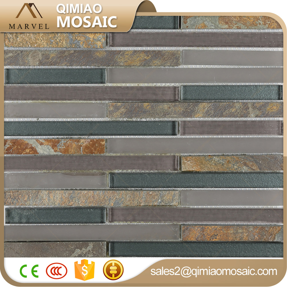 Home Decor Rectangle Glass Stone Wall Tiles Quartzite Mosaic