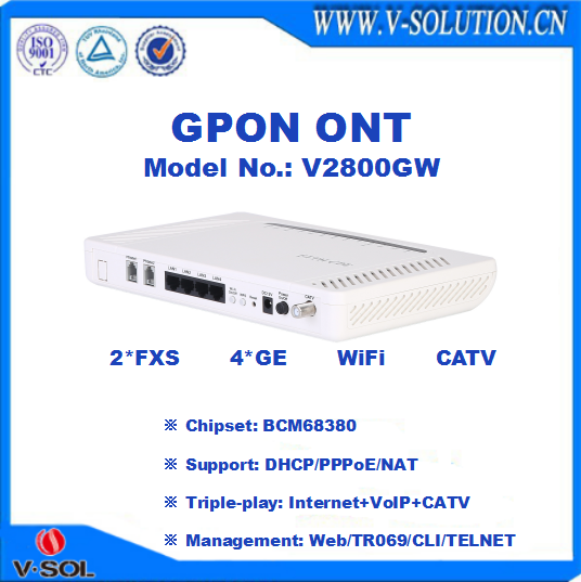 CE Certificated FTTH Ethernet WiFi RF Ports GPON ONU Optical Network Unit with CATV shut down by WEB