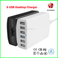 12A 6 Port usb desktop charger Phone Charger PAD Charger 2.4A each 220V AC to 5V dc TUV Certificates