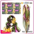 Abstract Square 30D Silk Chiffon Long Towel Lady Scarf