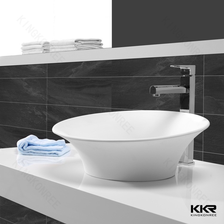 solid surface wash basin / stone round sink bowl
