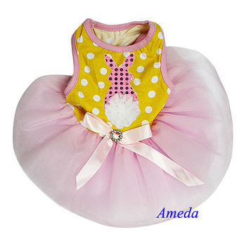 Easter Bling Bunny Rosette Yellow Polka Dots Pink Tutu Pets Dogs Party Dress XS-L