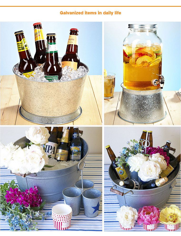 Galvanized french cold storage ice bucket with rope handle
