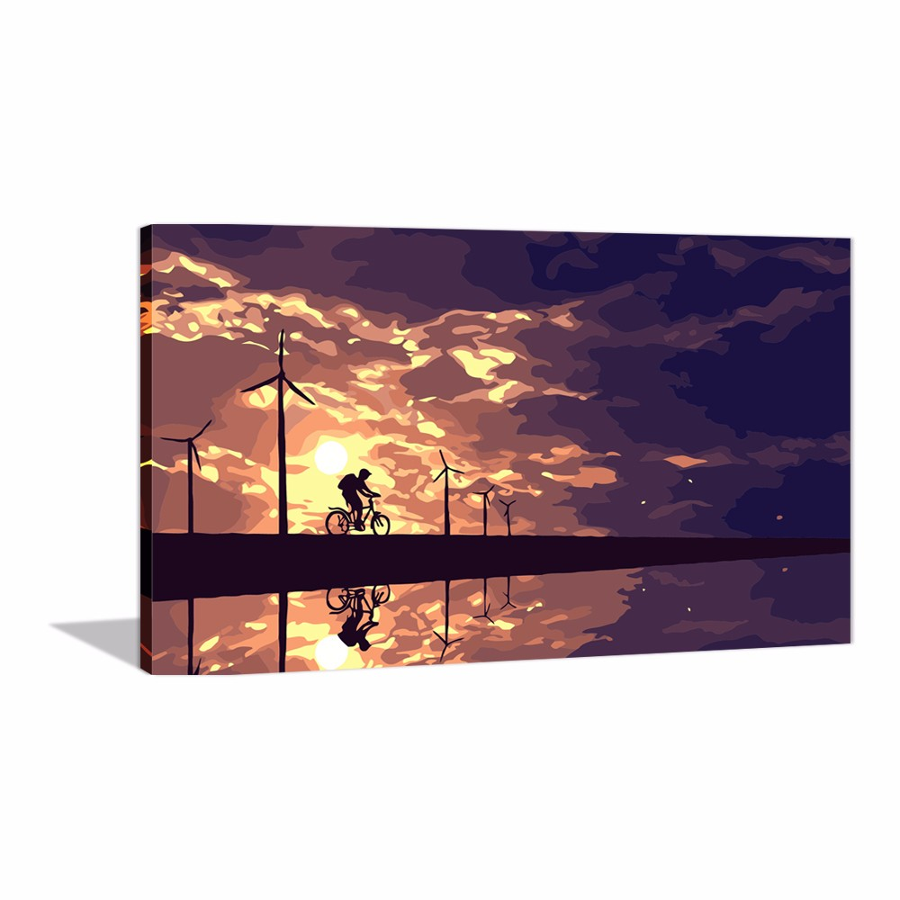 DIY Oil Painting Pre Printed Canvas To Paint By Numbers Sunset Clouds