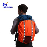 fashion cover bag 300D nylon waterproof safety LED school bag rain cover