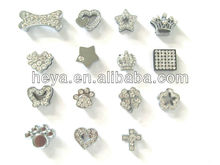 DIY different design 10mm rhinestone slide bracelet charms for phone strap and pet collor