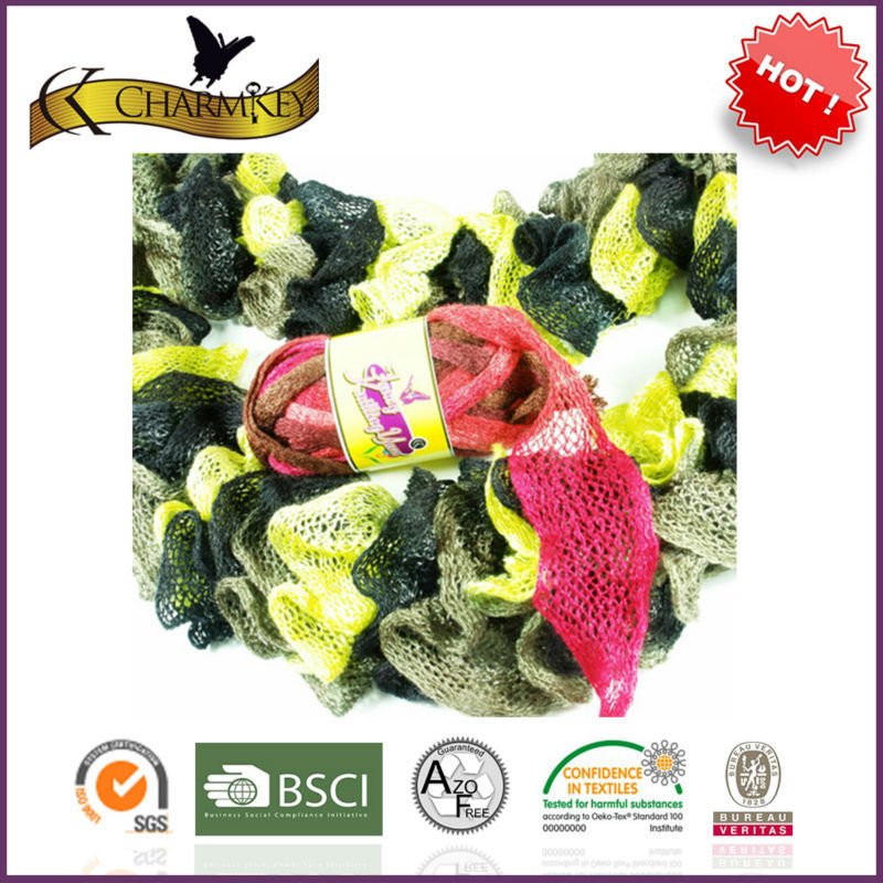 Ruffle sashay yarn for fishnet coat