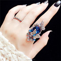 Metal Animal Butterfly Rhinestone Ancient Silver Wedding Ring Set