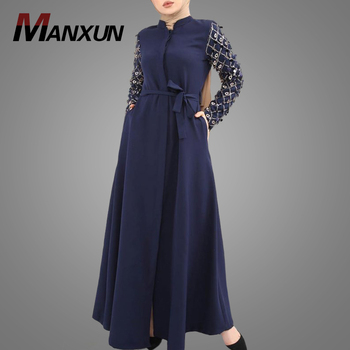 Indenesia Ethnic Clothing Modest Sequin Sleeve New Model Abaya In Dubai Hotsale Soft Turkish Coat Women Caftan Kaftan Dress