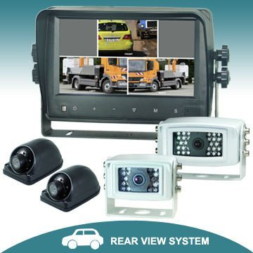 7 inches quad car rear view system with touch button monitor camera retroceso retrovisor