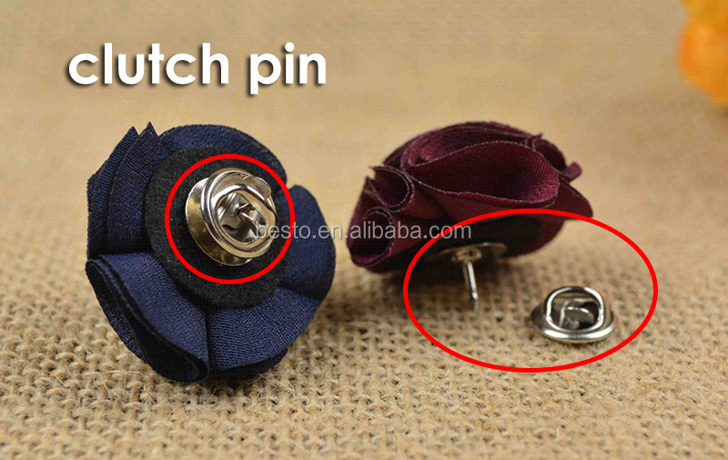 Stock custom small size men's fabric flowre pins for clothes