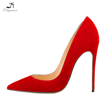 Red Suede Elegant Sexy Ladies Office Wear Stiletto High Heel Pumps Women Large Size Shoes 42 to 46 Shoes