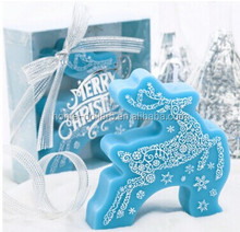 BLUE CHRISMAS DEER CANDLE