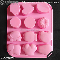 Cheap silicone baking cute animal 12 cavties FDA silicone cake mold