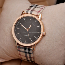 Ladies Quartz Wristwatches Analog Leather Band Women Watches Rubber Case Glass Plaid Stripes Fashion Watch New 2016 Discount