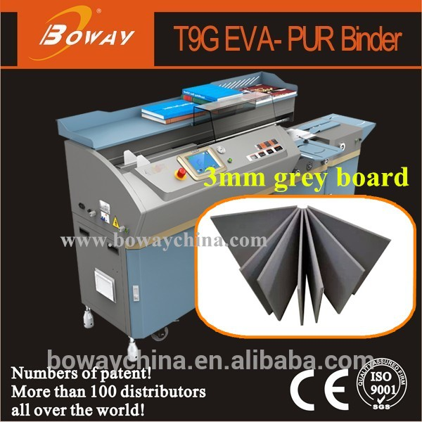 China 1st 3mm grey board 2 in 1 EVA PUR binding folding gluing machine