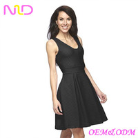 Women's Pointelle Fit & Flare black Dress sleeveless
