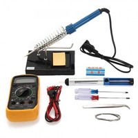 10in1 60W 110V Electric Solder Iron Tool Kit with Iron Stand Desoldering Pump
