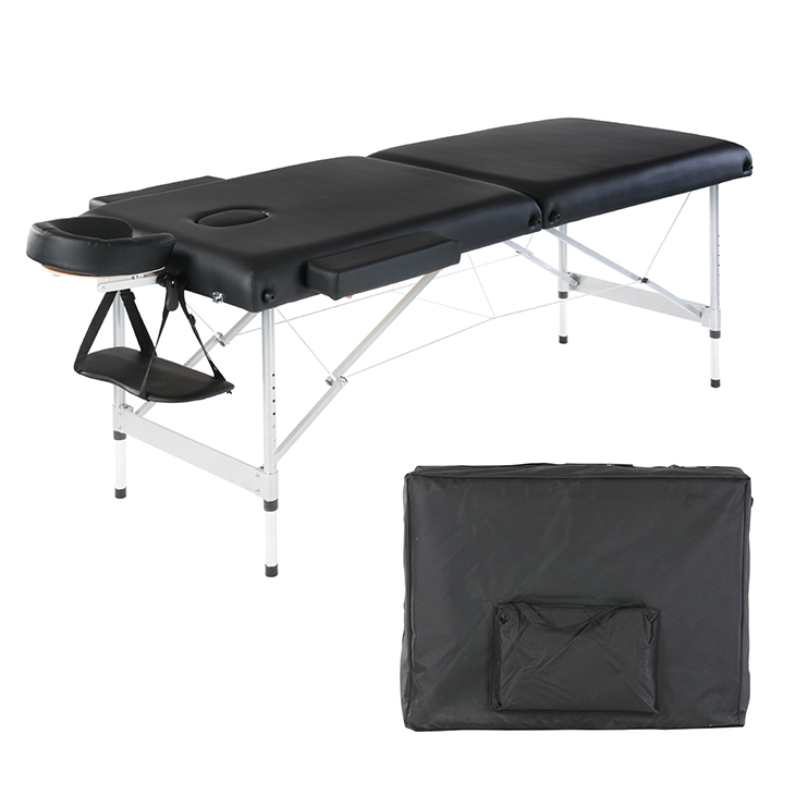 Deluxe Lightweight 2-Section Wooden Portable Massage Table Bed with Free Carry Bag Built in Breathe Hole