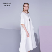 Latest sleeveless maxi linen long white dress for lady