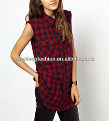CHEFON Sleeveless Check Flannel Shirt Womens CAT0109