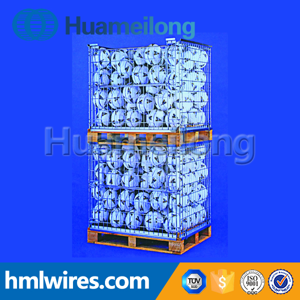 Zinc steel storage collapsible galvanized metal box pallet container
