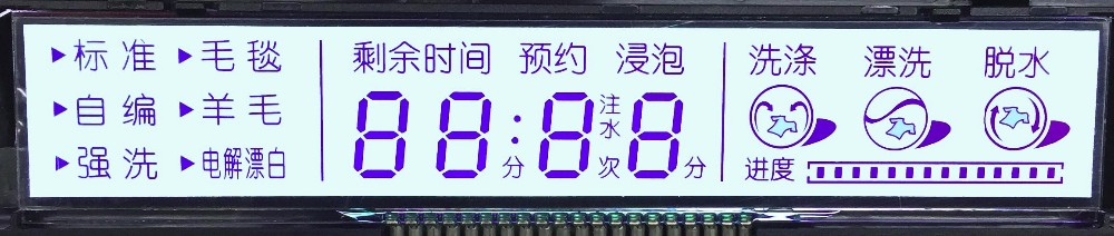 monochrome LCD display for washer