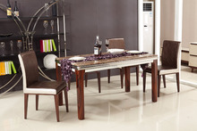 High quality wood legs top marble top dining table