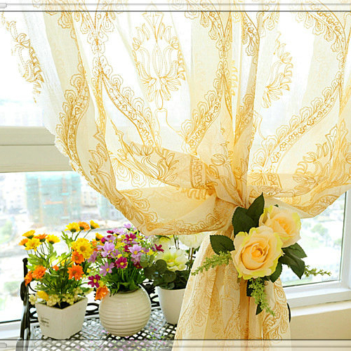 Embroidered machine voile net curtains from Hangzhou manufacturer