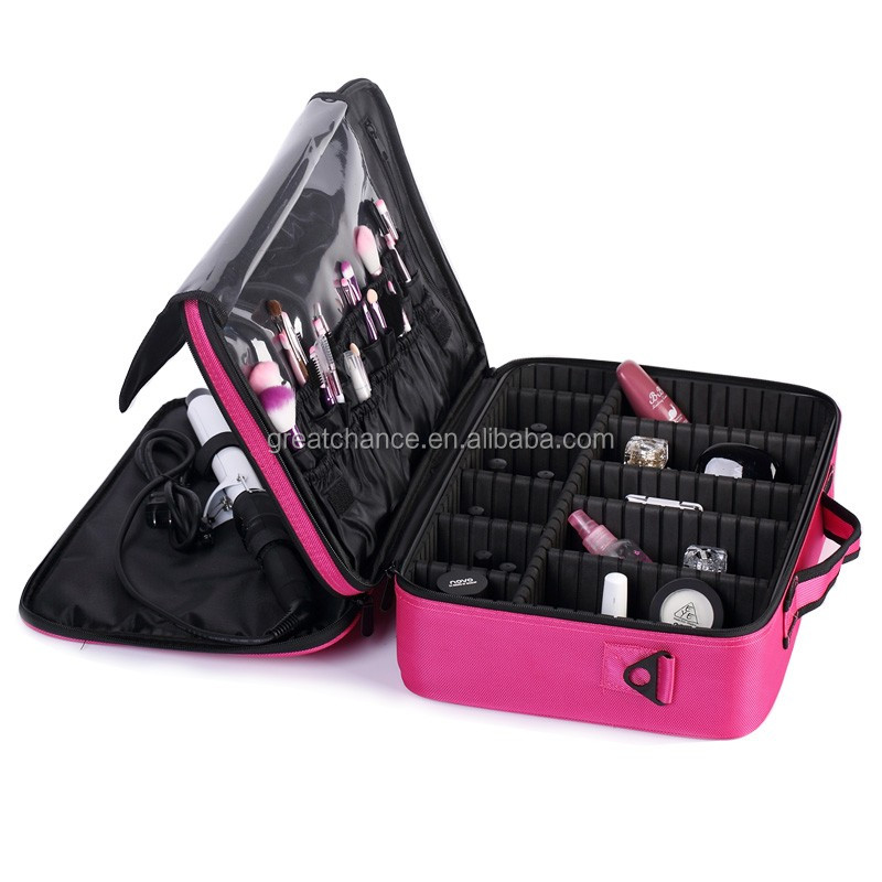 Soft makeup case - Pro Black Travel Cosmetic Case Bag Purse Organizer Makeup Pouch Box Two Floor(XY-918)