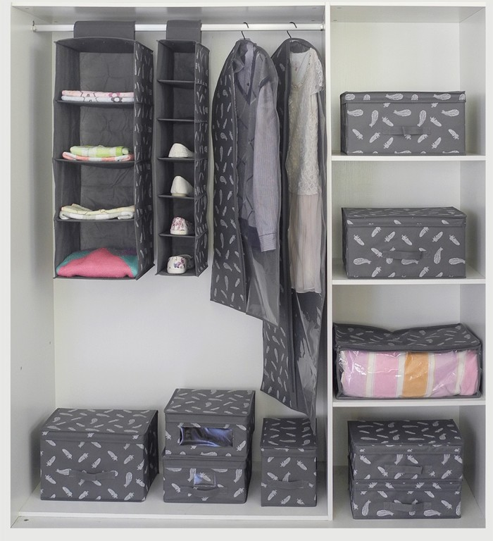 4 Shelf Hanging Closet Organizer With Drawer For Clothes, Sweaters, Shoes
