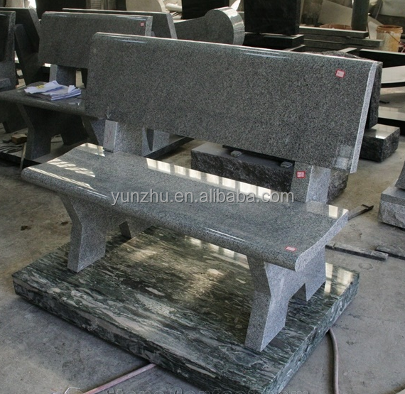 G633 Light Gray Granite Monument & Tombstone Cemetery Bench