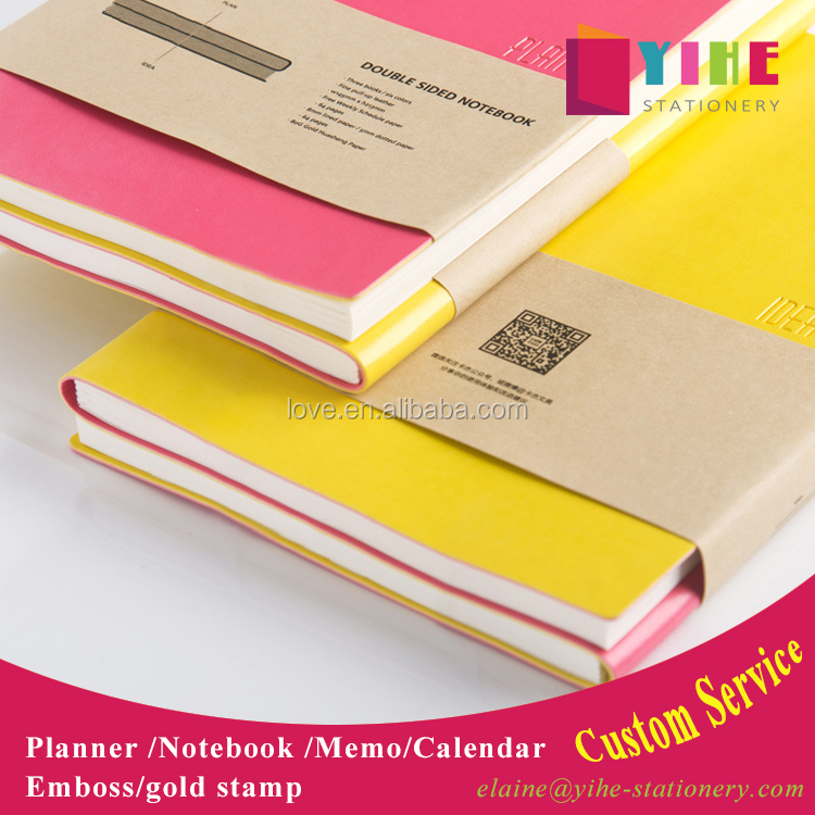 soft PU leather custom personal organizer agenda daily/weekly/ yearly planner